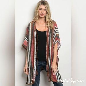 Sweaters - Short Kimono Sleeve Striped Slub Knit Kimono Cardi